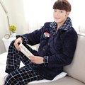 Casual Men Winter Pajamas Sets Cotton Padding Plus Velvet Thick Warm Sleepwear Suits Sleep Wear Male Home Lounge