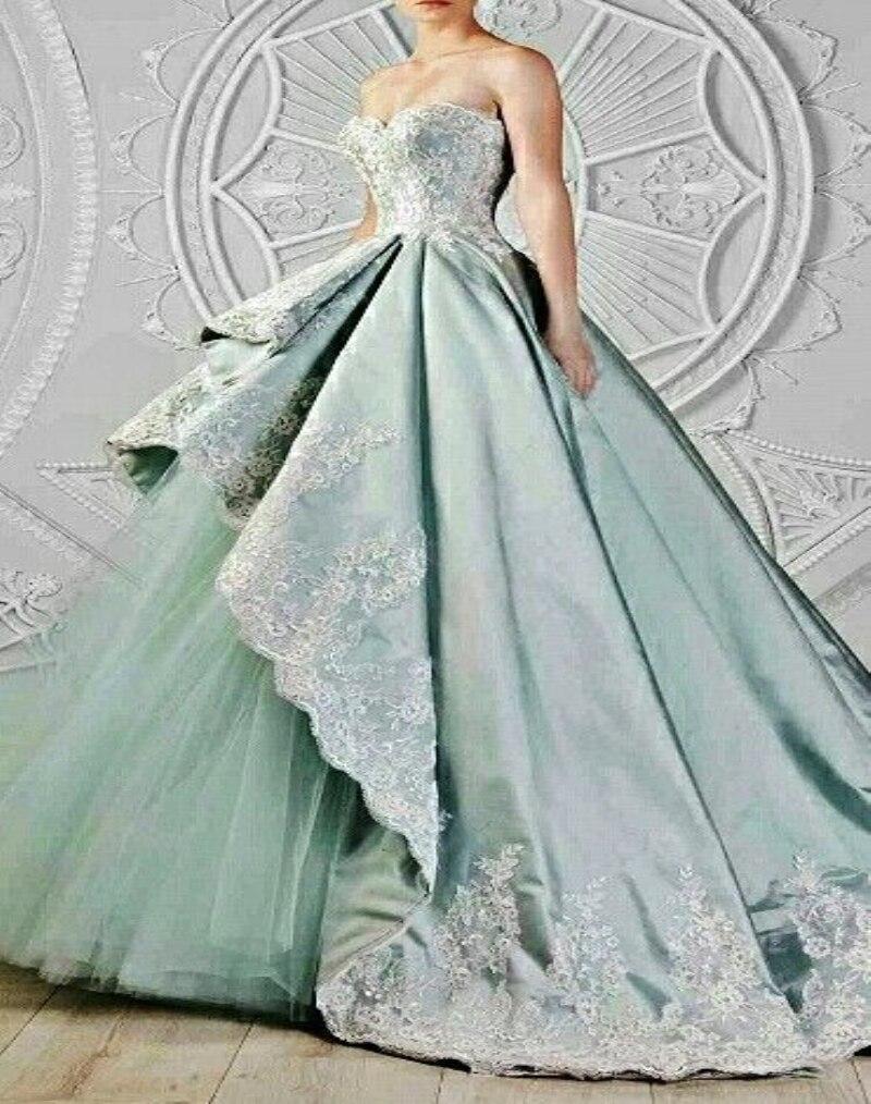 Big Ball Gown Luxury Court Train Long Wedding Dresses Appliques ...