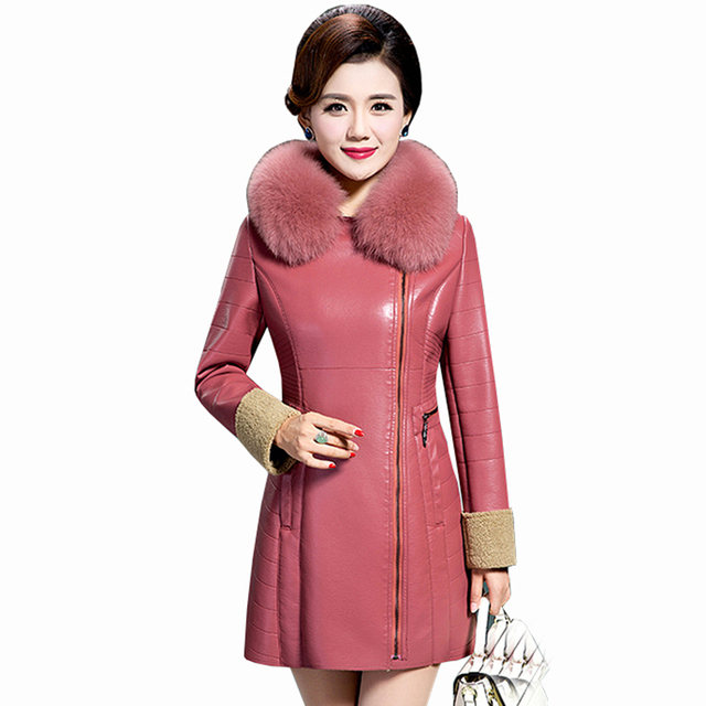 079fd9a864a New Leather suede women winter thick warm plus size sheepskin coat leather  jacket natural fox fur long leather outerwear QH1218