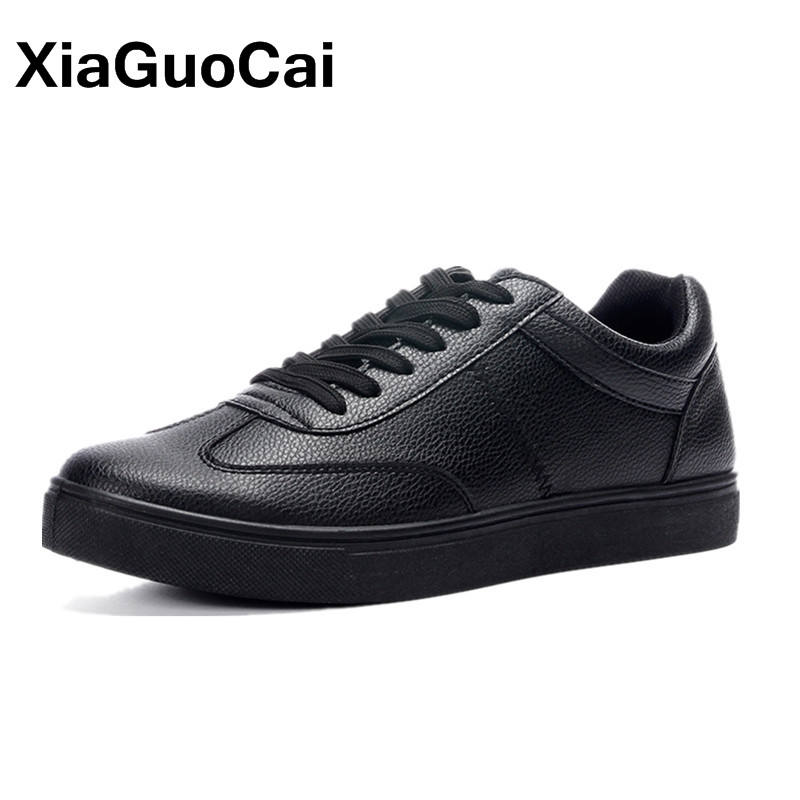Solid White Men Casual Shoes Sneakers 2019 Spring Autumn Lightweight PU Leather Men's Flats Leisure Trend Black Dropshipping