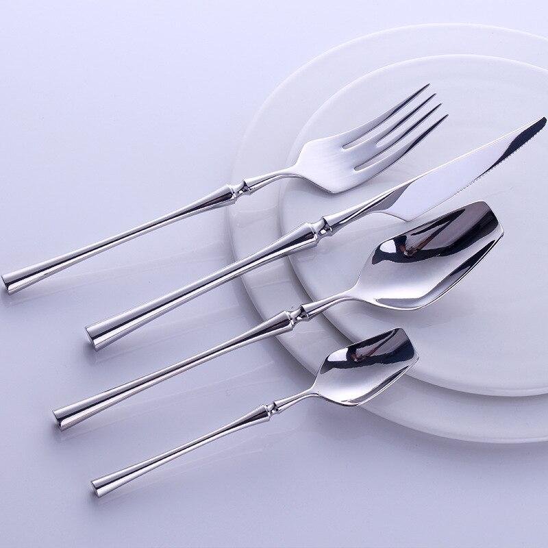 24 pièces Portable Ensemble de Couverts De Voyage 304 couverts en acier inoxydable Avec Poignée De Luxe vaisselle Occidentale couteau à steak et fourchette ensemble