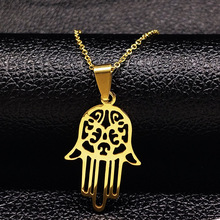 2017 Hamsa Hand Stainless Steel Necklaces for Women Silver Plated Statement Necklace Jewelry acero N16814B