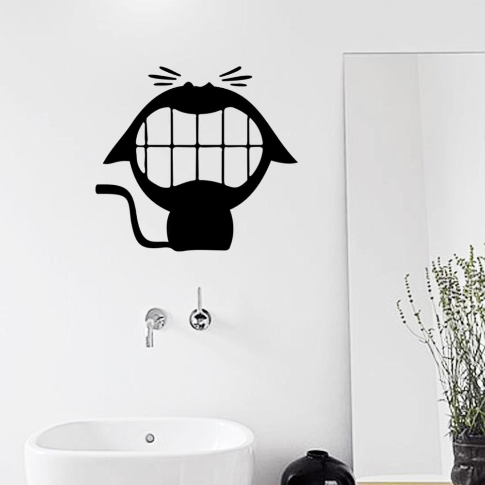 riendo gato lindo pegatinas de vinilo de pared para cuarto de bao pequeo animal