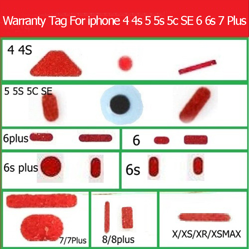 Waterproof Warning Label Sticker For IPhone 4s 5c Se 6 7 8 Plus X XS Max XR Water Damage Seal Warranty Indicator Sensors Sticker