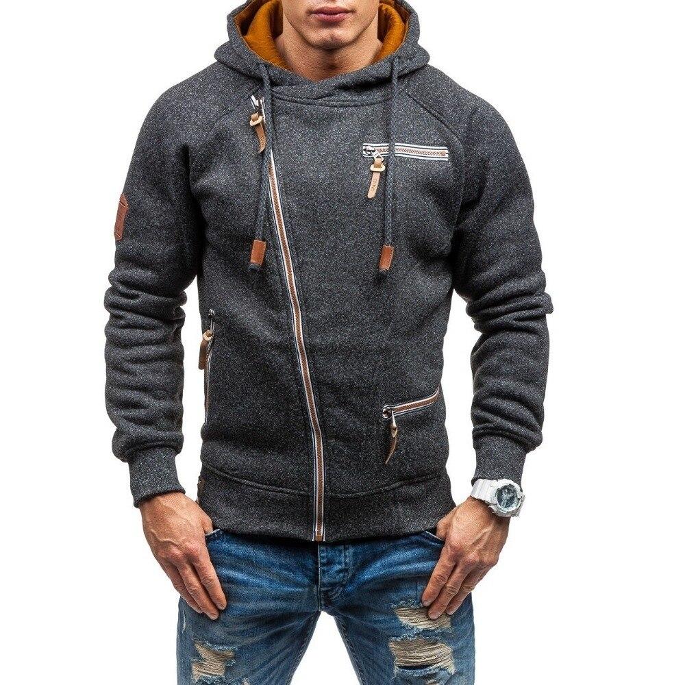 Autumn Winter Coat Oblique zipper Hoodies mens coats and jackets sportwear fitness Tracksuit fleece Jacket male Hoody Sweatshirt 2