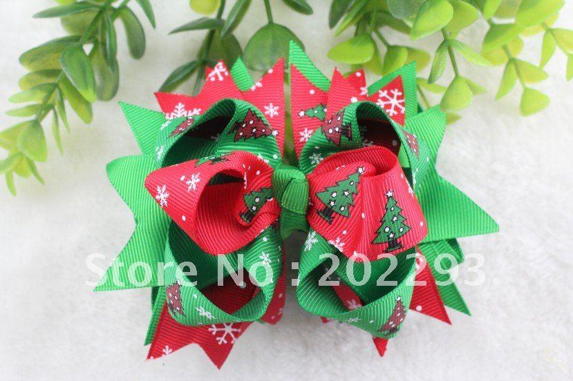 Милая Рождественская елка печатные ленты волосы луки, Лидер продаж