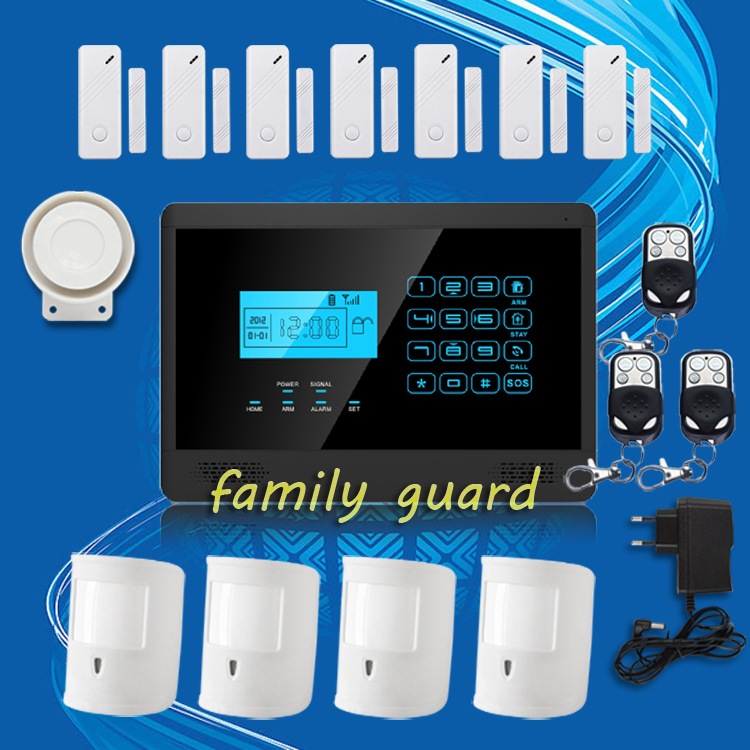 Free Shipping!Android IOS APP Autodial Wireless GSM SMS Home Security Burglar alarm system Hot Sale+4 Pet Immune PIRS+7 Door Gap new kerui home protection gsm pstn ios android app remote quad 4 bands wireless autodial house burglar door alarm secure system