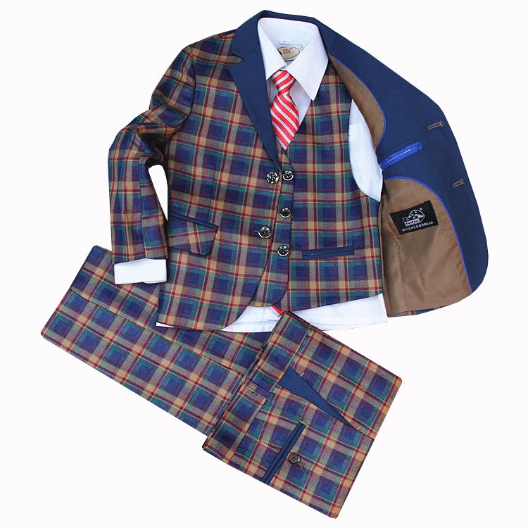 Children Formal Suit Jacket Wedding boys Dress Plaid 4 Pieces set high quality jacket vest pants