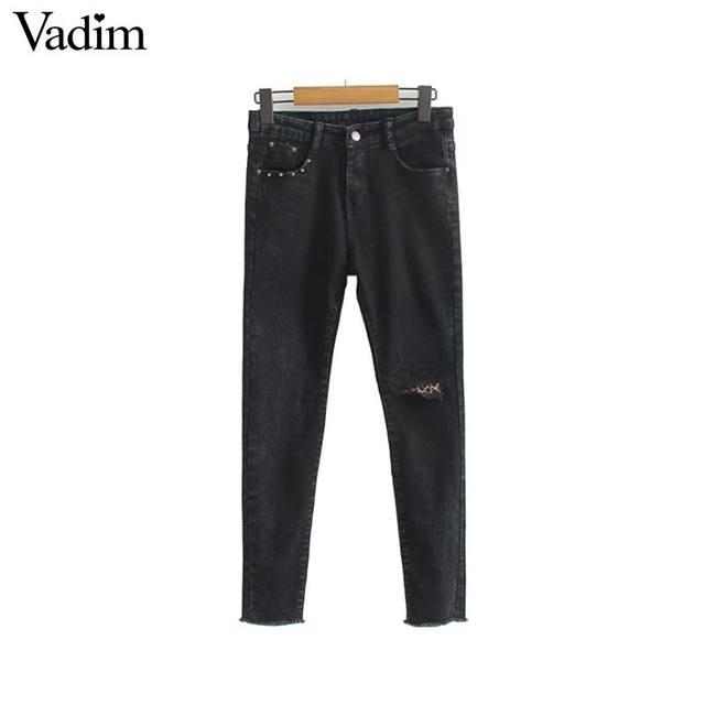 Vadim נשים נמר טלאי ג 'ינס ג' ינס fringle גדילים מסמרה כיסי מכנסי עיפרון נקבה מקרית מכנסיים pantalones KA408
