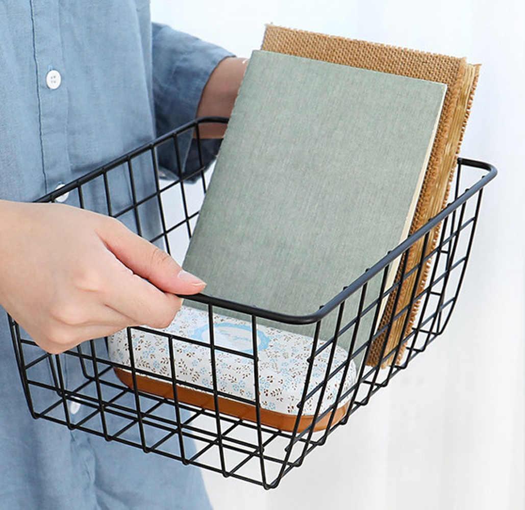 Livro de Arte do ferro Cesta De Armazenamento Lanches Sundries Organizador de Higiene Pessoal Preto Branco Estilo Minimalista Quarto Cozinha Cestas do Armazenamento