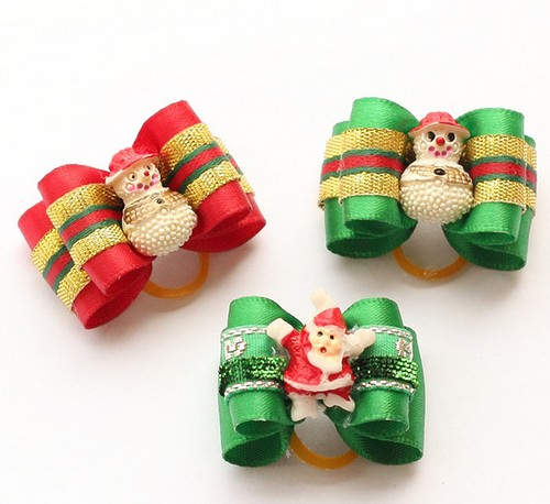 handmade christmas snowman elderly colored ribbons dog bow dogs festival bows pet grooming flower head in dog accessories from home garden on