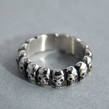 Hainon Vintage Skull Ring Jewelry Silver Color Punk Pave Skeleton Design Round Bands Finger Ring For Men Women Retro Party Gift