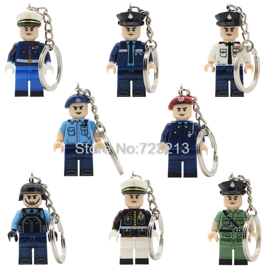Hong Kong Macao Policeman Keychain SDU Police Story City Hero Key Ring SWAT Military Building Blocks Set Model Bricks Toys new arrival city swat policeman special forces model police officer tactical unit minifigures building blocks bricks toy for kid