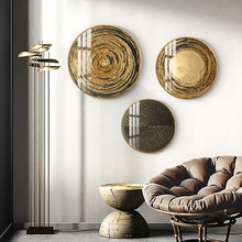 Luxury decorative paintings Round metal abstract pattern wall painting Golden mural American living room porch