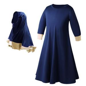 Image 2 - 2 PCS Miúdos Muçulmanos Hijab Meninas + Vestido Conjunto Cachecol Abaya Jilbab Kaftan Oriente médio Árabe Islâmico da Oração Roupas Sólida cor Ternos Novo