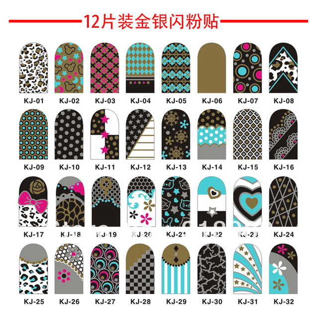Free Shipping Wholesale/Nails Supply, 5 Sheets 3D Nails Art Foil Decal G&S Glitter Stickers Tips Wrap Acrylic DIY Decorations KJ