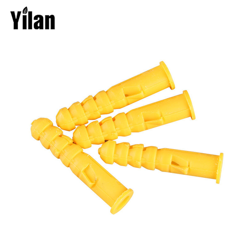 25pcs m8 40mm small yellow plastic expansion plug pipe anchor wall plug screw nylon expansion. Black Bedroom Furniture Sets. Home Design Ideas
