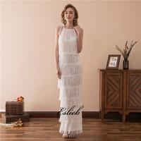 Eslieb Beach Evening Dress Floor Length Tassel White Sweet Evening Gown Empire Cut Out Halter Long