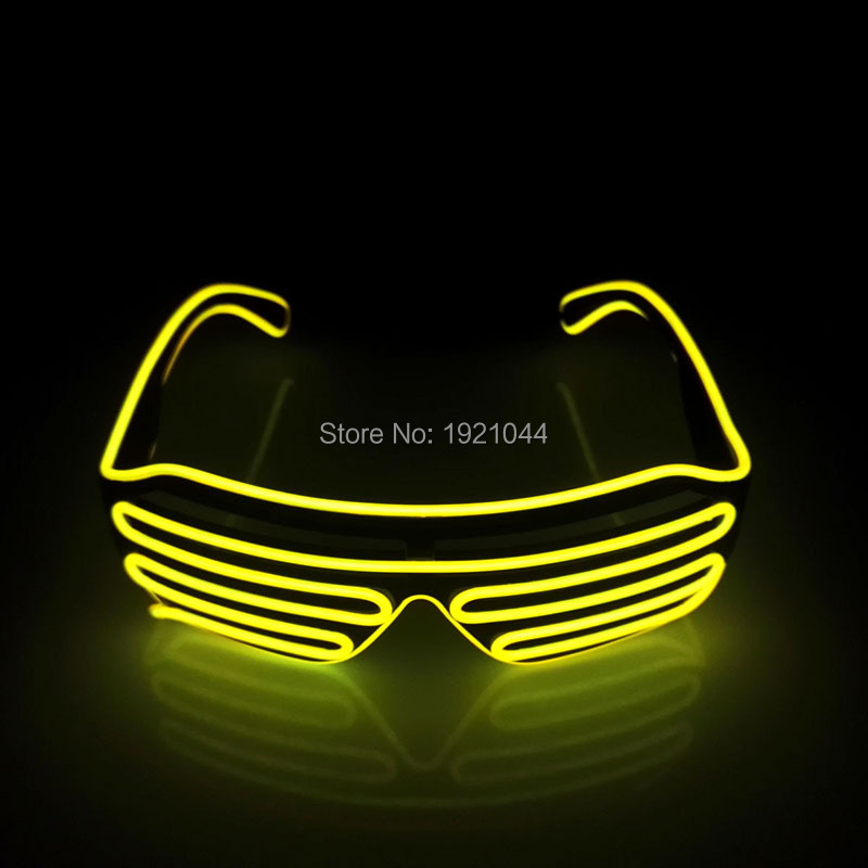 Blinking Color Yellow EL Wire Glowing Shutter Shape Glasses Rave Costume Party DJ Glasses Birthday Party Decoration