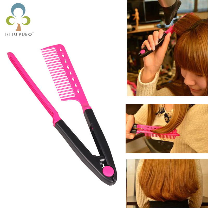 Fashion Hair Combs V shape Hair Straightener Comb ...