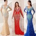 Espumoso azul o rojo de la sirena cuello en V piedras manga larga romantic vestido de noche atractivo