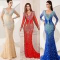 Sparkling Blue or Red Mermaid V neck Rhinestones Long sleeve romantic sexy evening dress