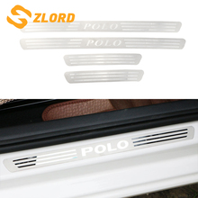 Car Door Sill Plate for Vw Polo 2011-2018 Stainless Steel Car Door Scuff Sill Plates for Volkswagen Polo 2012 - 2017 Accessories цена