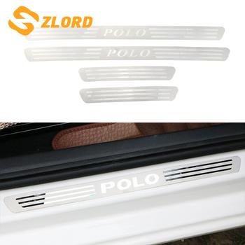 Listwa ochronna progowa samochodu dla Vw Polo 2011-2018 stal nierdzewna drzwi samochodu próg zabezpieczający przed zarysowaniem płyty dla Volkswagen Polo 2012-2017 akcesoria tanie i dobre opinie Zlord Wewnętrzny CN (pochodzenie) Inne naklejki 3d Words STAINLESS STEEL Kreatywne naklejki Nie pakowane ZL000101