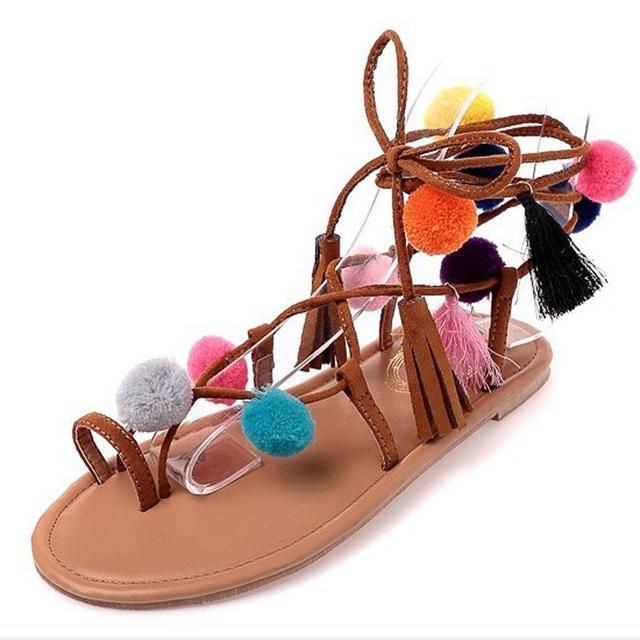 ZUJINXIANG Bohemia Bondage gypsy pompon pom pom sandals women concise strappy Boho flat cross strap fur ball ethnic flip flops