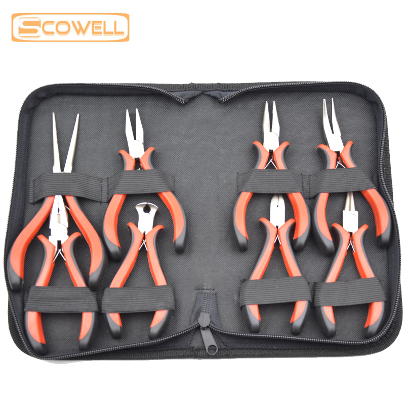 30% Off 8 PCS Jewelry Pliers Set Mini Pliers Kit For Jewelry Processing Nickel Plated Double PVC Handles Add Tools Bag DIY Tools