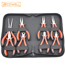 8 PCS Jewelry Pliers Set Mini Kit for processing Nickel Plated with Double PVC handles With Tools Bag DIY