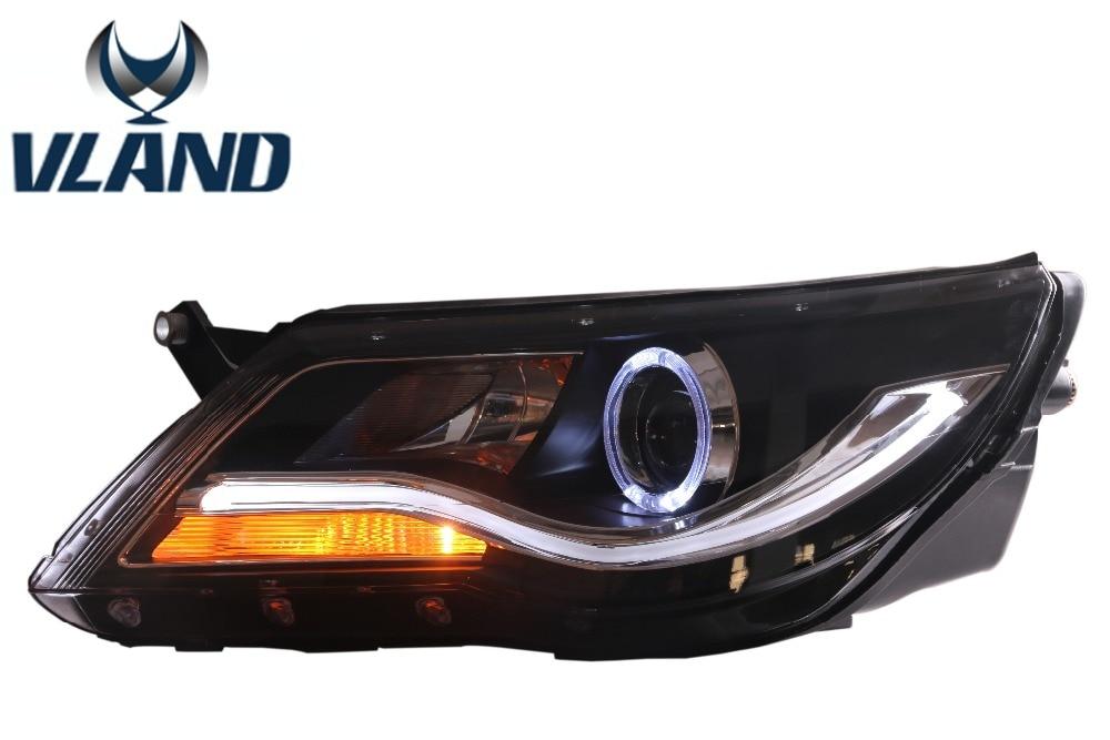 Бесплатная доставка для Вланд автомобиль водить головная лампа для Фольксваген тигуан 2010-2012 проектор фары с глаза Ангела ДХО