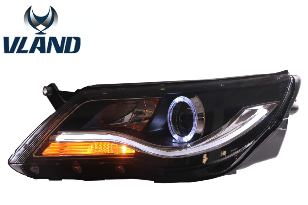 Free shipping for Vland Car LED Head Lamp For Volkswagen Tiguan 2010-2012 Projector Headlight with Angel Eyes DRL