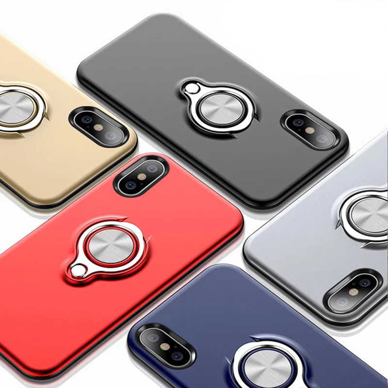 For iPhone X XR XS Max 6S 7 8 Plus 5 5S SE Magnetic Finger Ring Holder Case Mobile Metal Ring Bracket Rotating Magnet PhoneCover