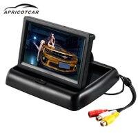 Auto 4.3 inch opvouwbare display HD LCD TV reverse rear view omkeren beeld camera monitor parkeerhulp GPS zwart display