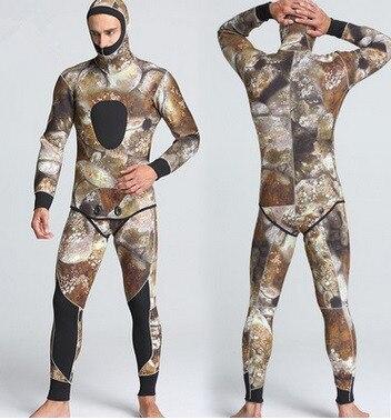 Combinaison de plongée professionnelle 5 MM hommes avec capuche néoprène combinaison de plongée sous-marine combinaisons de plongée 2 pièces équipement de vêtements de plongée