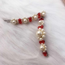 Simon Pearl Hair Clip  Instagram Net Star Hand-woven Headdress Crystal Side Clipins Jewelry