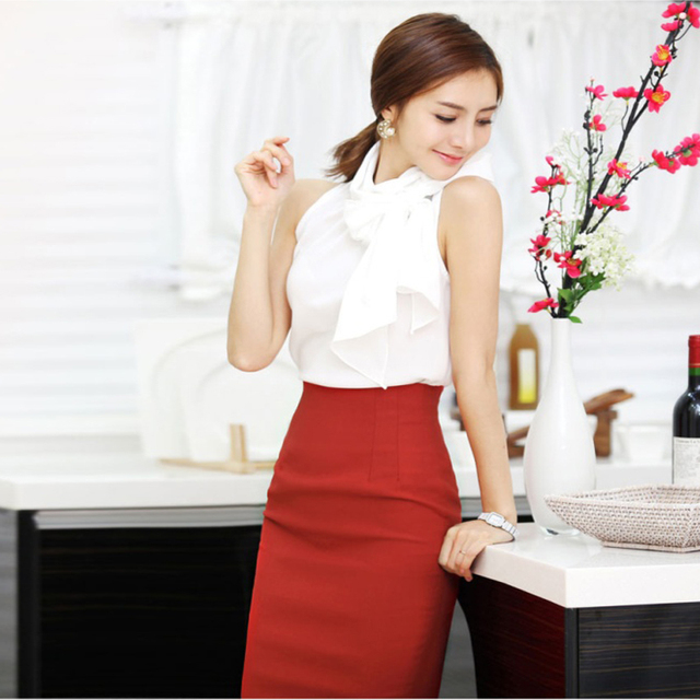 Pencil Skirt Women 2019 Elastic High Waist Slim Hips Red Black Formal Saias Feminino Lady OL Office Bodycon Skirts Plus Size 4