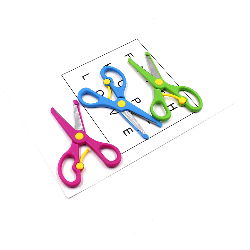 New 1 High Quality Mini Safety Plastic Round Head Scissors Student Children Kindergarten School Paper Cutting Supplies