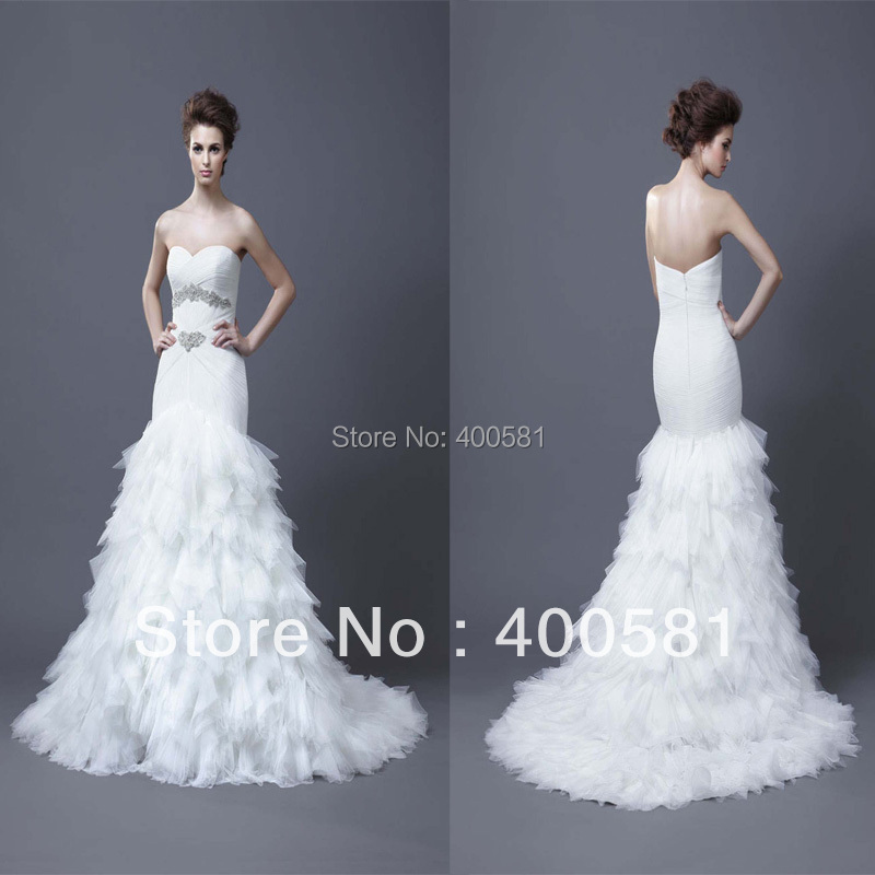 Sexy sweetheart drop waist mermaid chapel train ruched for Tiered ruffle wedding dress