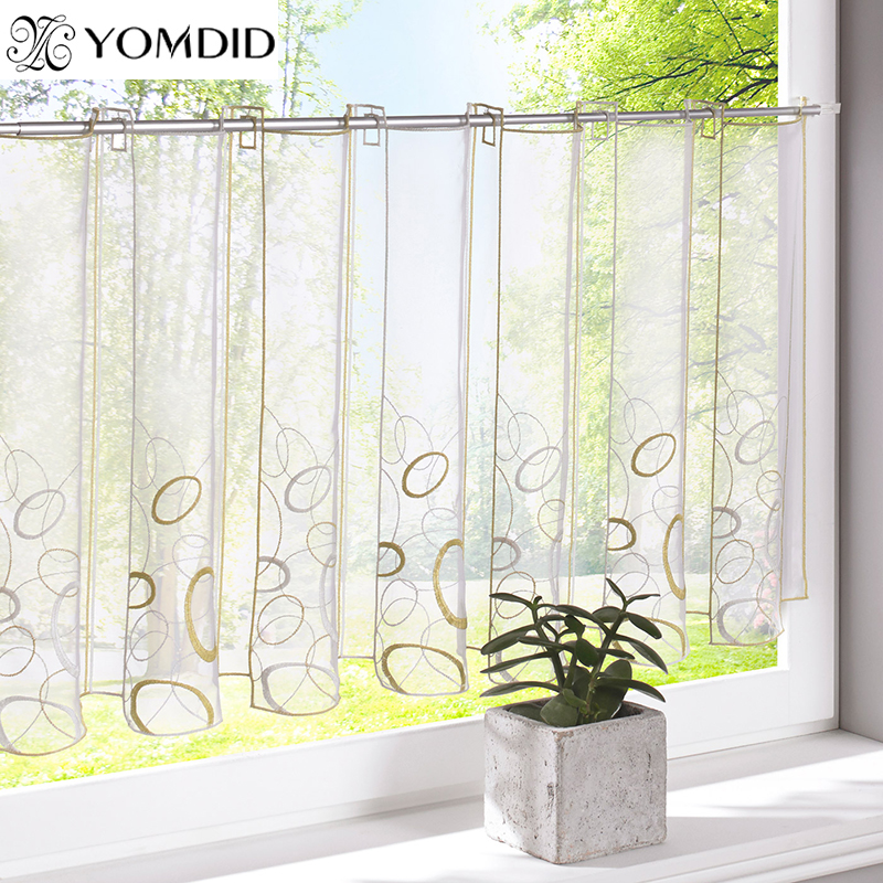 short window curtains embroidery half curtain striped window valance customize 30893