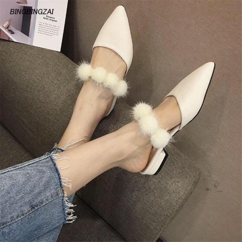 BBZAI été sandales chaussures Femme zapatos mujer dames 5cm cheveux balI chaussures à talons grossiers Femme bandoulière Femme pompes de mariage