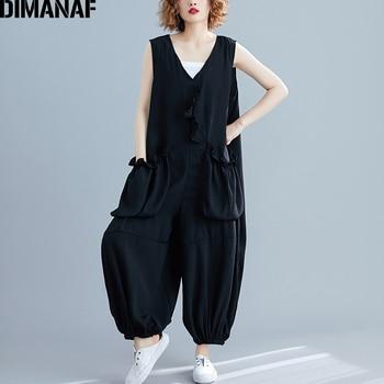 DIMANAF Plus Size Women Jumpsuits Long Pants Sleeveless Ruffles Summer Big Trousers Female Clothes Loose Vintage Black 2021