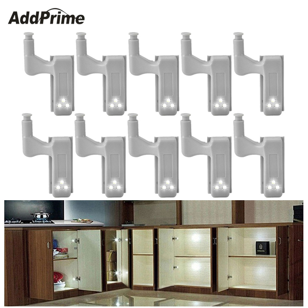 10 Pcs LED Cabinet Lighting Cupboard Hinge Light Bedroom Closet Inner Lamp  Wardrobe Sensor Light LED Lights For Home Kitchen