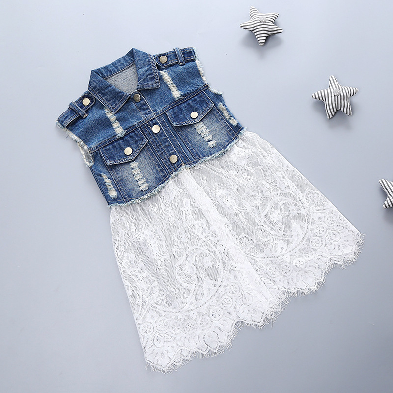 88b5a4a7dd Kids girls denim stitching gauze lace dress 2016 spring new Korean denim  vest dress Dresses Girls Size 12