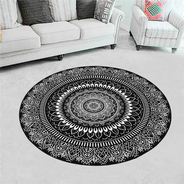Round Rugs Nordic Gray Serie Carpets Living Room Computer Chair Area Rug Kids Play Tent