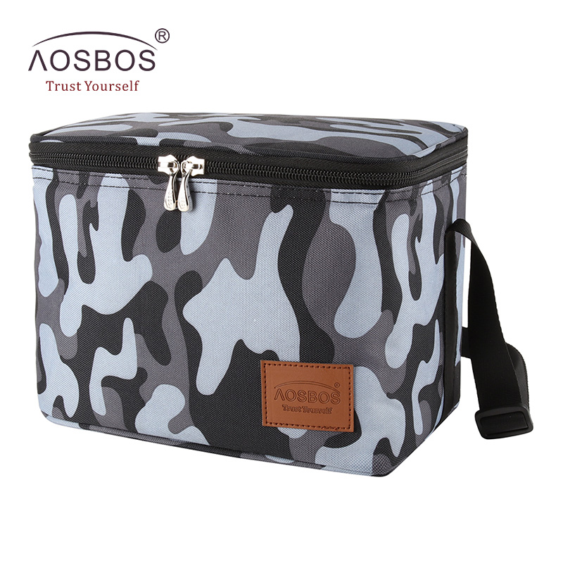 Aosbos Portable Cooler Lunch Bags Insulated Camo Thermal Lunchbox Shoulder Food Picnic Bag Cooler Tote Handbags for Men Women sannen 7l double decker cooler lunch bags insulated solid thermal lunchbox food picnic bag cooler tote handbags for men women