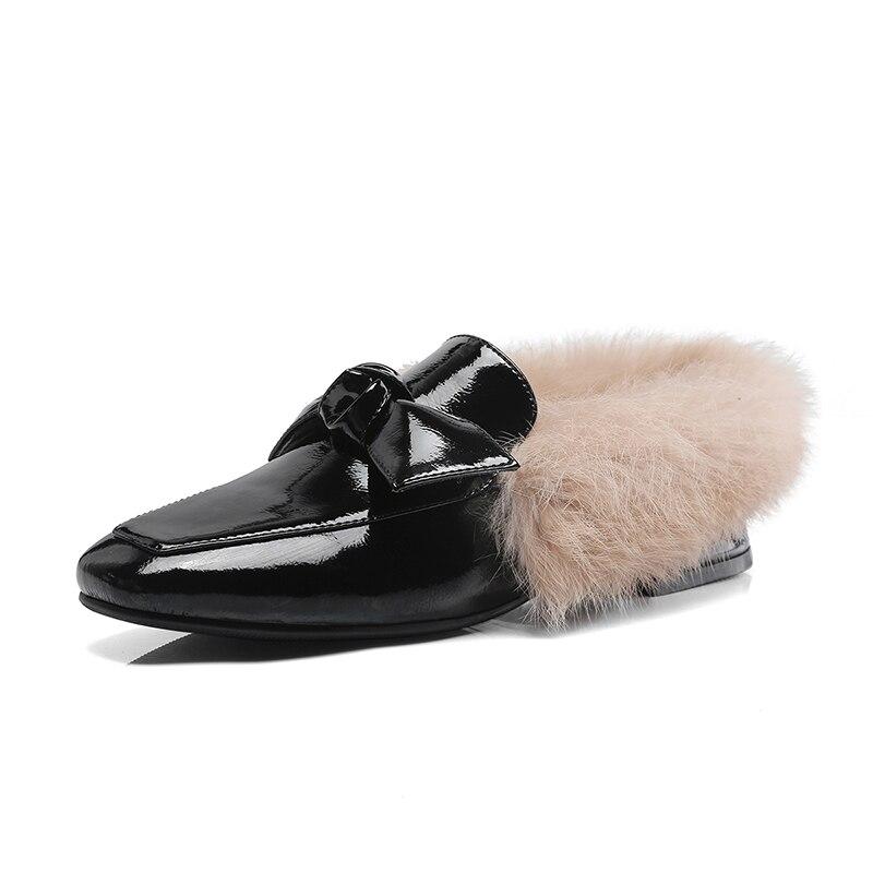 Carrés Cuir Bowtie Noir Kcenid Chaussures Bas Casual Carré Avec Printemps Femmes Verni Talons En Rouge Mode Bout vin Fourrure gris Pompes Nouveaux ExEZBUwqY