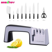 Knife Sharpener 4 in 1 Diamond Coated&Fine Ceramic Rod Shears and Scissors Sharpening System Stainless Steel Blades