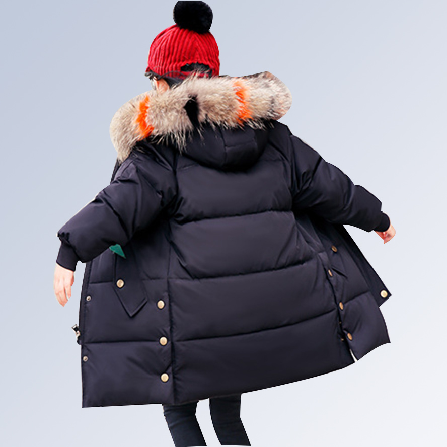 Fur Hooded Kids Winter Jacket Girls Coats 2018 Children Winter Coat Thick Long Down Coats for Teenagers Outerwear 6 8 10 12 14 Y 2018 new winter coats for girls jacket hooded kids outerwear thick warm children down long jackets for girls coat 10 12 14 years